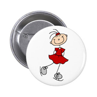 Red Figure Skater Button