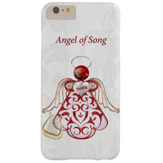 Red Filigree & Gold Christmas Angel of Song Barely There iPhone 6 Plus Case