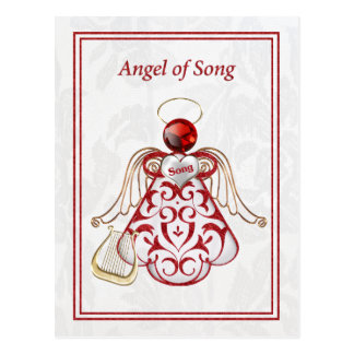 Red Filigree & Gold Christmas Angel of Song Postcard