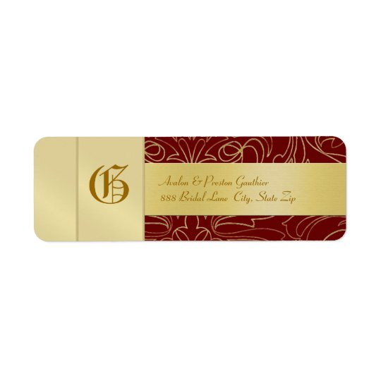 Red Filigree Gold Monogram Wedding Address Label