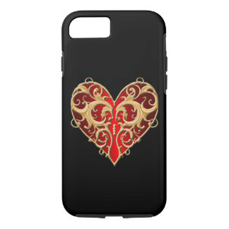 Red Filigree Heart iPhone 7 Case