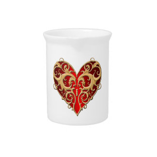 Red Filigree Heart Pitcher