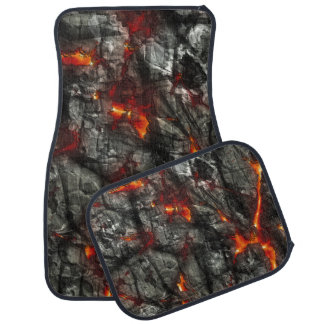 Red fire, black stone fantastic abstract texture car mat