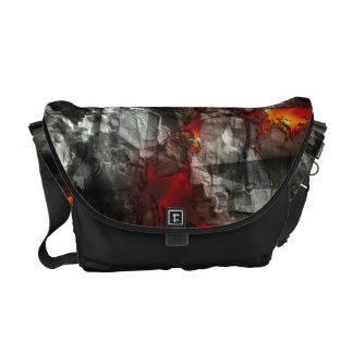 Red fire, black stone fantastic abstract texture courier bag