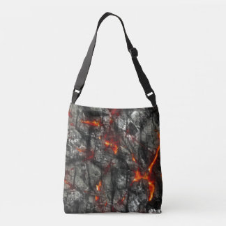 Red fire, black stone fantastic abstract texture crossbody bag