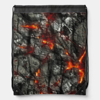 Red fire, black stone fantastic abstract texture rucksacks