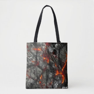Red fire, black stone fantastic abstract texture tote bag