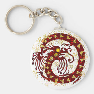 Red Fire Dragon Basic Round Button Key Ring