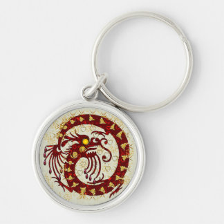 Red Fire Dragon Silver-Colored Round Key Ring
