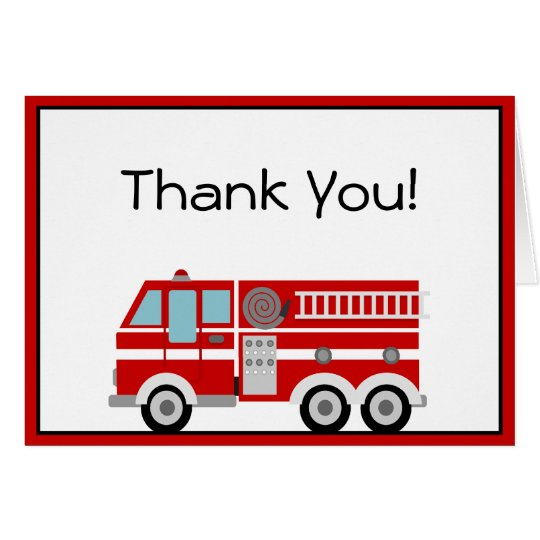 Red Fire Engine and Hat Thank You Note