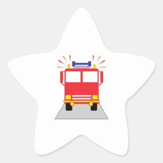 Red Fire Engine Star Sticker