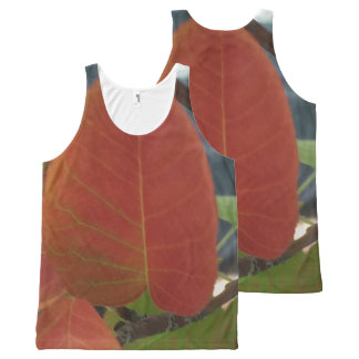 Red Fire Leaf All-Over Print Tank Top