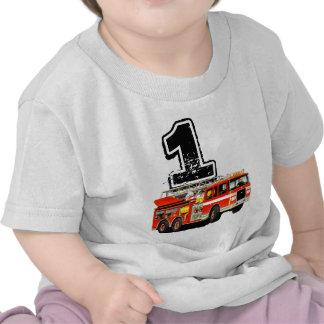 Red Fire Truck 1st Birthday Shirt