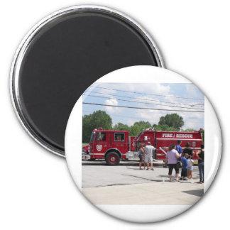 Red Fire Truck 6 Cm Round Magnet