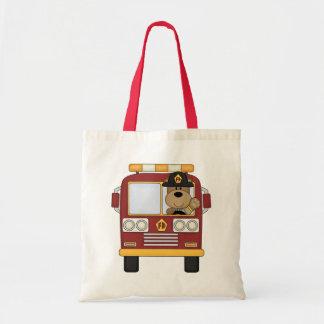 Red Fire Truck Bear Canvas Bag