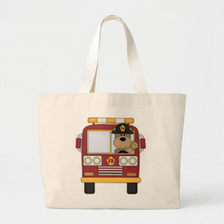 Red Fire Truck Bear Tote Bags