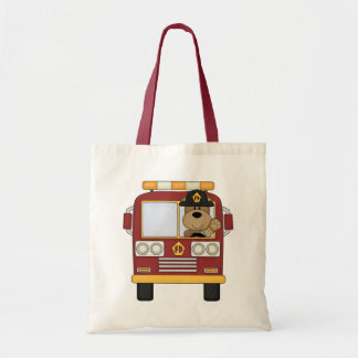 Red Fire Truck Bear Budget Tote Bag