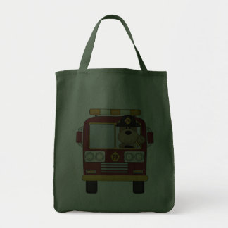 Red Fire Truck Bear Grocery Tote Bag