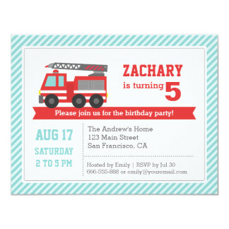 Red Fire Truck Boy Birthday Party Invitation