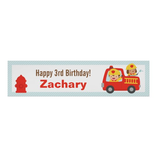Red Fire Truck Fighter Boy Birthday Party Banner