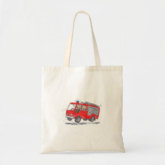 Red Fire Truck Fireman Caricature Budget Tote Bag
