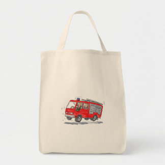 Red Fire Truck Fireman Caricature Grocery Tote Bag