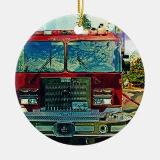 Red Fire Truck Fireman's Art Gift Round Ceramic Decoration