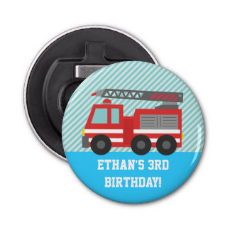 Red Fire Truck Kids Birthday Party Favors Button Bottle Opener