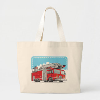 Red Fire Truck or Fire Engine Canvas Bag