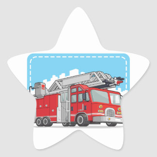 Red Fire Truck or Fire Engine Star Sticker