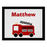 Red Fire Truck Personalised Name Wall Art Poster