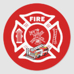 Red Fire Truck Rescue Round Stickers