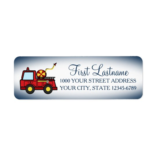 Red Fire Truck Return Address Label
