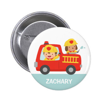 Red Fire Truck with Fire fighter Boy and Puppy 6 Cm Round Badge
