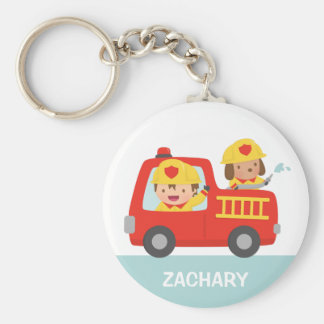 Red Fire Truck with Fire fighter Boy and Puppy Key Ring