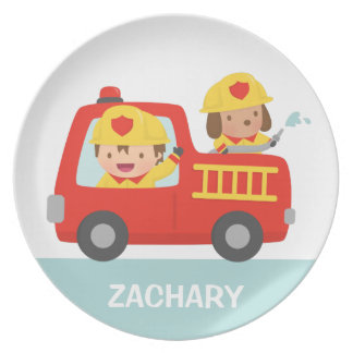 Red Fire Truck with Fire fighter Boy and Puppy Plate
