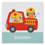 Red Fire Truck with Fire fighter Boys Room Decor