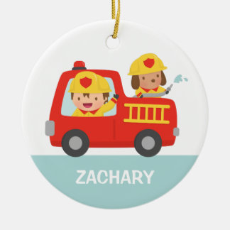 Red Fire Truck with Fire fighter Boys Room Decor Christmas Ornament