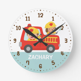 Red Fire Truck with Fire fighter Boys Room Decor Round Clock