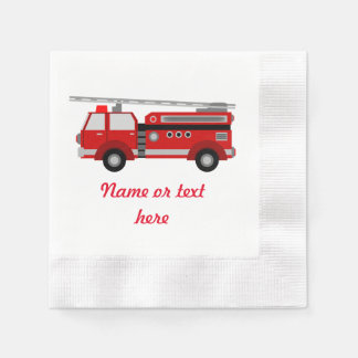 Red Fire truck with text Disposable Serviette