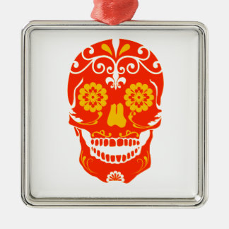 RED FIRED SKULL Silver-Colored SQUARE DECORATION
