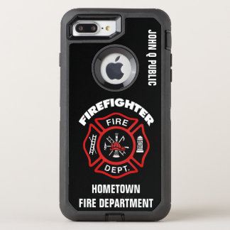 Red Firefighter Name Template OtterBox Defender iPhone 8 Plus/7 Plus Case