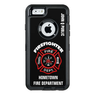 Red Firefighter Name Template OtterBox Defender iPhone Case
