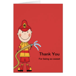 Red Fireman Thank You Card