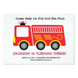 Red Firetruck Birthday Invitation