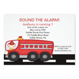 Red, Firetruck Boys  Birthday Invitation