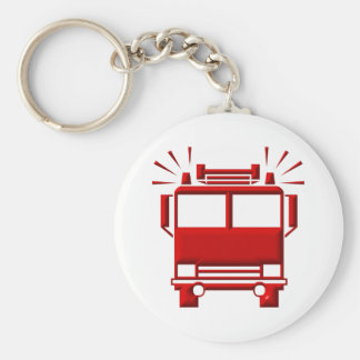 Red Firetruck Basic Round Button Key Ring