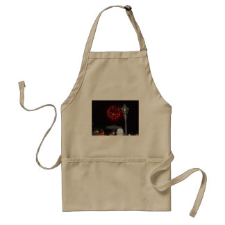 Red Fireworks Celebration with Lamppost Adult Apron