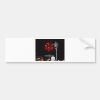 Red Fireworks Celebration with Lamppost Bumper Stickers