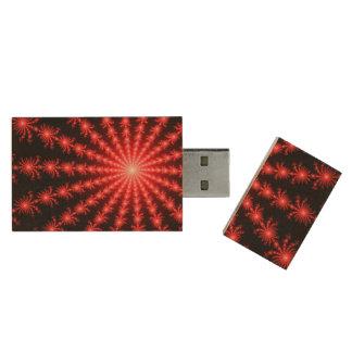Red Fireworks - fractal design Wood USB 3.0 Flash Drive